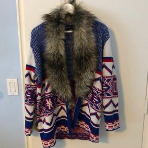 NWOT furry patterned cardigan sweater - XS